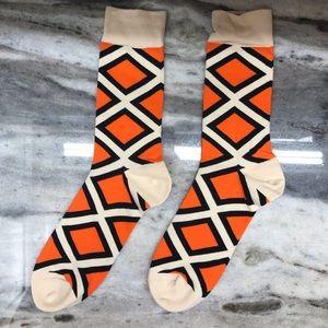 Orange and Tan Abstract Socks